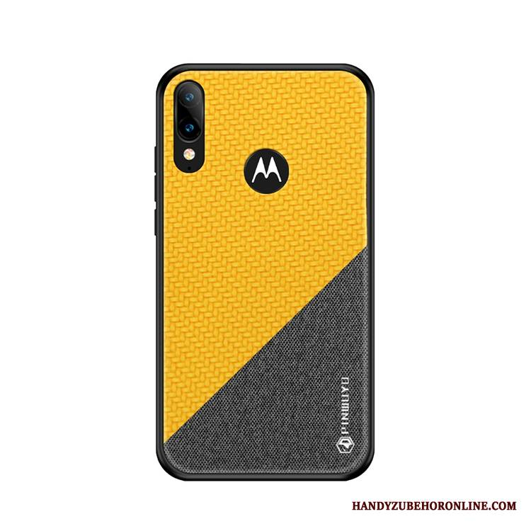 Moto E6 Plus Anti-fall Wzór All Inclusive Etui Żółty Płótno Futerał